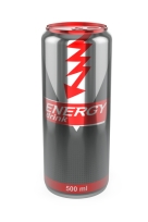 Energy drink can on white background