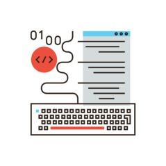 Web programming flat line icon concept